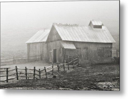 Flatlandsfoto Metal Print featuring the photograph Foggy Barn by Joan Davis