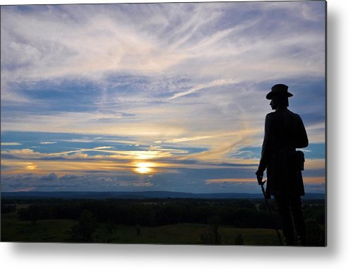 Sunset Metal Print featuring the photograph General Warren Little Round Top by William Fox