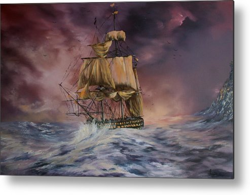 H.m.s Victory Metal Print featuring the painting H.m.s Victory by Jean Walker