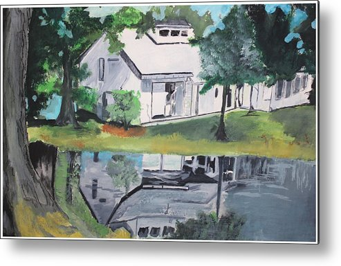 Landscape Metal Print featuring the painting House With Lush Green Surroundings by Pallavi Sharma