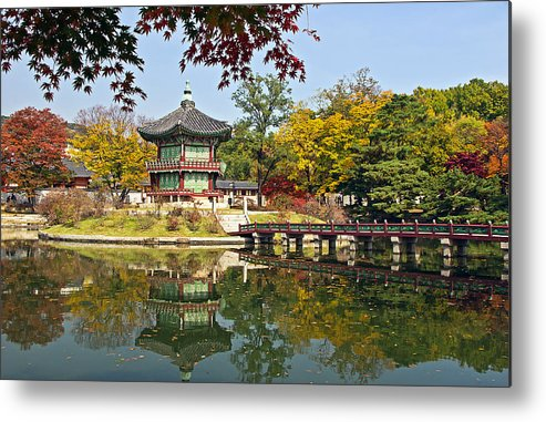 Autumn Metal Print featuring the photograph Hyangwonjeong Pavilion In Autumn by Tony Crehan