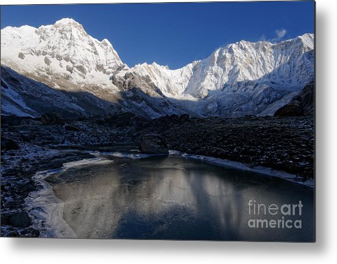 Annapurna Metal Print featuring the photograph Icy Lake And Annapurna by Colin Woods