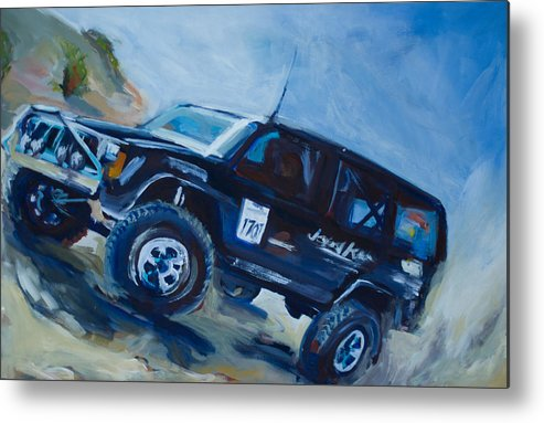 Jeep Metal Print featuring the painting Jeepspeed by Chelsea Davidson