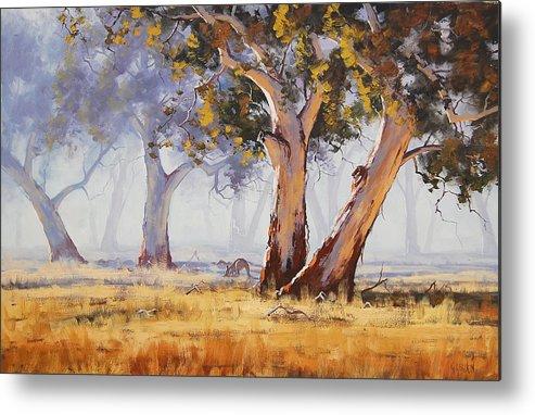 Eucalyptus Trees Metal Print featuring the painting Kangaroo Grazing by Graham Gercken