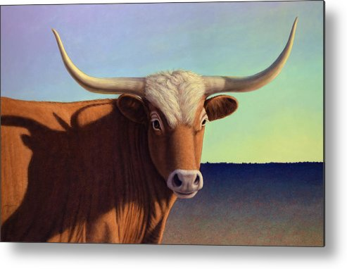 Lady Longhorn Metal Print featuring the painting Lady Longhorn by James W Johnson
