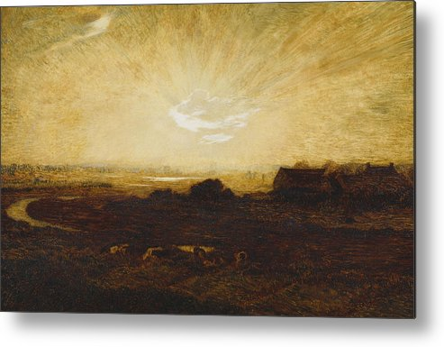 Sun Metal Print featuring the painting Landscape At Sunset by Marie Auguste Emile Rene Menard