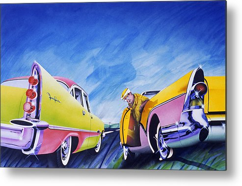 Fifties Automobiles Metal Print featuring the painting Minnesota Flat by Charles Stuart