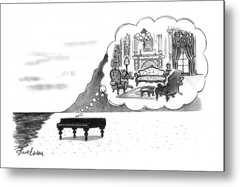 (the Piano On A Desolate Beach Wishing It Was In A Nice Parlor.)  No Caption Piano On Beach Has Mental Image Of Comfortable Victorian Parlor. Refers To Jane Campion's Film  Metal Print featuring the drawing New Yorker January 24th, 1994 by Mort Gerberg