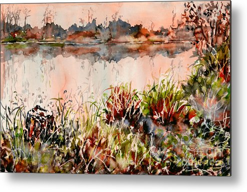 Watercolor Metal Print featuring the painting Ponds Untold Stories by Almo M