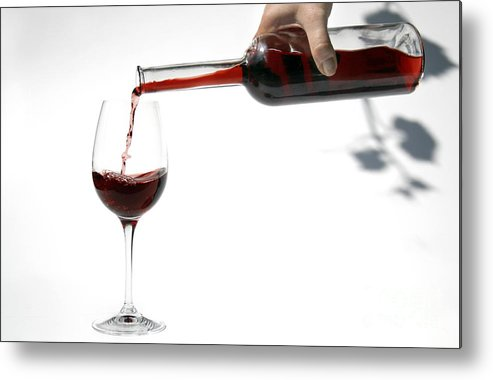 Alcohol Metal Print featuring the photograph Pouring Red Wine Into Glass by Patricia Hofmeester