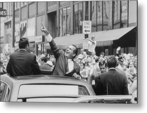 History Metal Print featuring the photograph President Nixon Pointing At The Crowd by Everett