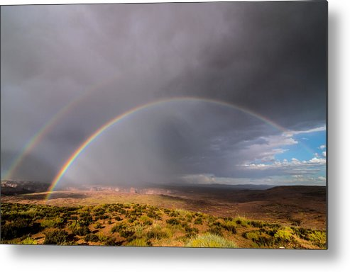 Landscape Metal Print featuring the photograph Rainbow Over Desert by Michael J Bauer