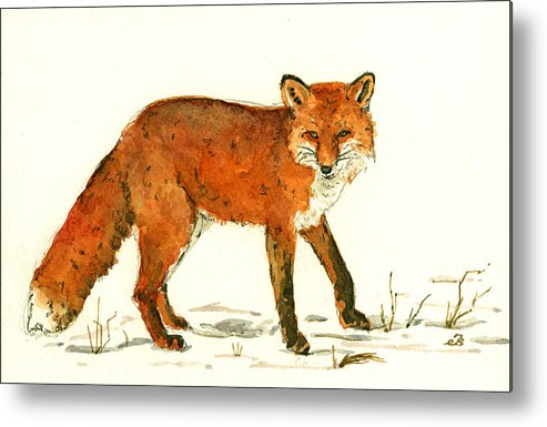 Red Metal Print featuring the painting Red Fox In The Snow by Juan Bosco