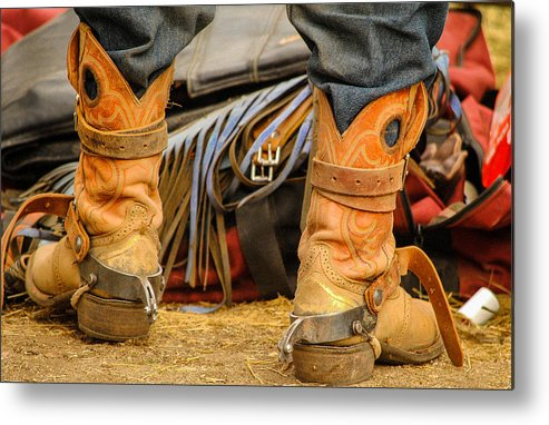 Boot Metal Print featuring the photograph Rodeo Cowboy Tools Of The Trade by Miki Finn