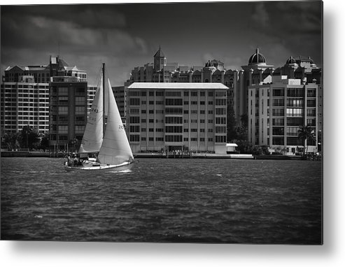 B&w Metal Print featuring the photograph Sailing Away by Mario Celzner