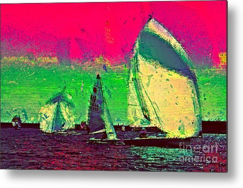 Sailing Day Regatta Metal Print featuring the photograph Sailing In Shimmer by Julie Lueders
