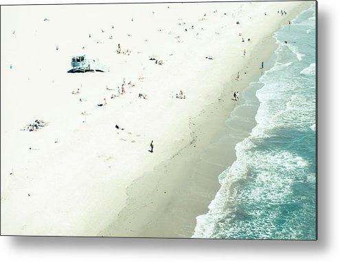 Water's Edge Metal Print featuring the photograph Santa Monica Beach by Angela Auclair