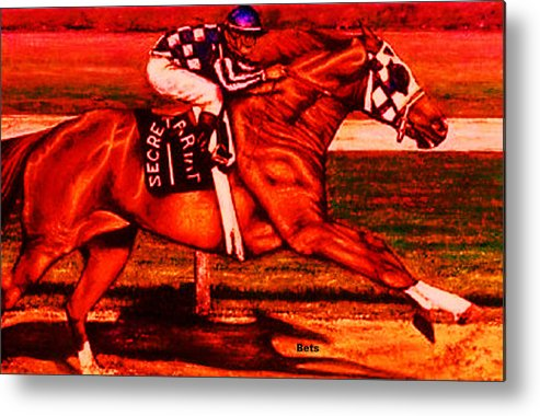 Secretariat Art Metal Print featuring the painting Secretariat Making His Move Red by Bets Klieger