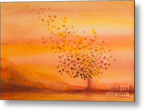 Butterfly Metal Print featuring the painting Soul Freedom Watercolor Painting by Michelle Wiarda