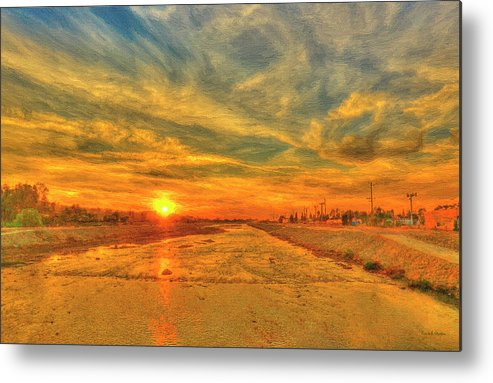 Sunset Metal Print featuring the painting Stormy Sunset Over Santa Ana River by Angela Stanton