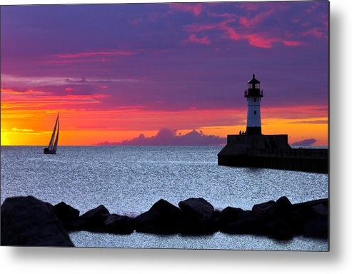 Sunrise lake Superior Sailing canal Park Lighthouse Duluth north Shore canal Park Lighthouse sail Boat Dawn Morning Magic Wow! Metal Print featuring the photograph Sunrise Sailing by Mary Amerman