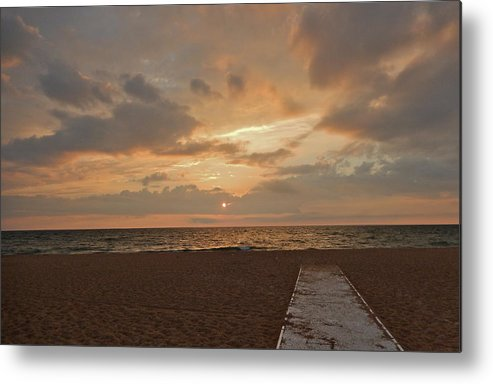 Pale Metal Print featuring the photograph Walkway To The Sunset by Susan Wyman