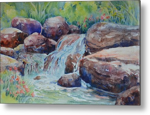 Waterfall Metal Print featuring the painting The Falls by Cynthia Roudebush