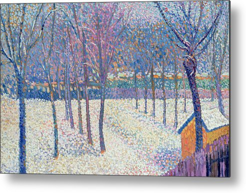 Pointillist Metal Print featuring the painting The Orchard Under The Snow by Hippolyte Petitjean
