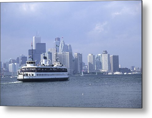 Horizontal Dock Boat Service Water Lake Ontario Harbor Harbor Ship Ferrying T.t.c. Toronto Transit Commission Cruising Skyline Towers Buildings City Architecture Blue White Condos Harbor Front Skyscraper Waterfront Transport Transportation Destination Islands Tour Hanlins Point Wards Centre Tourist Attractions Tranquility Centreville Sunny Sunshine Holiday Vacation Toronto Ontario Canada. Metal Print featuring the photograph Toronto Island Ferry by Jim Wallace