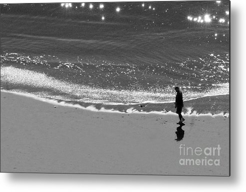 Man Walking On Beach Metal Print featuring the photograph Walking With God by Artist and Photographer Laura Wrede