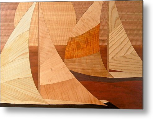 Water Metal Print featuring the painting Wooden Ships by Kenneth Taber