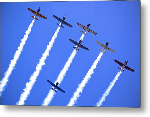Flight Formation Metal Print featuring the photograph Yak 52 Formation by Phil 'motography' Clark