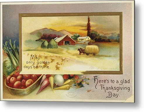 1910 Metal Print featuring the photograph Thanksgiving Card, C1910 by Granger