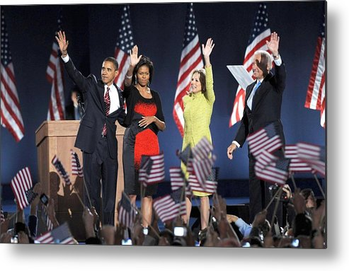 Barack Obama U.s. Presidential Election Victory Speech And Celebration Metal Print featuring the photograph U.s. President Elect Senator Barack by Everett