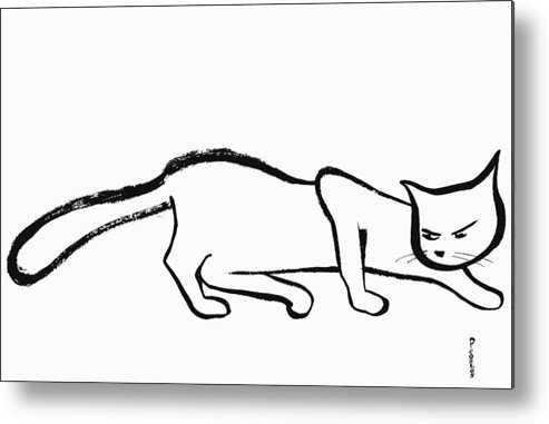 Metal Print featuring the drawing cat by Poul Costinsky