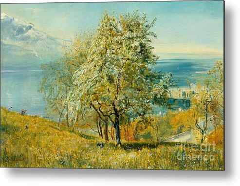 An Alpine Lake Metal Print featuring the painting An Alpine Lake by John William Inchbold