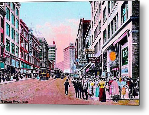 Department Stores Metal Print featuring the painting Bon Marche Department Store In Seattle Wa In 1910 by Dwight Goss