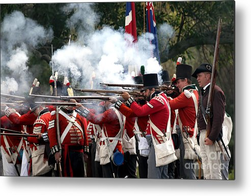 British Metal Print featuring the photograph British Firing Line by JT Lewis