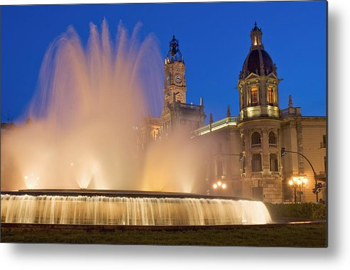 Water Metal Print featuring the photograph City Hall And Fountain At Dusk by Axiom Photographic