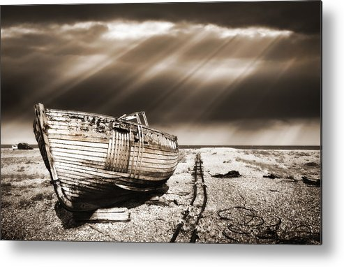 Boat Metal Print featuring the photograph Fishing Boat Graveyard 9 by Meirion Matthias