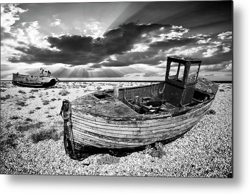 Boat Metal Print featuring the photograph Fishing Boat Graveyard by Meirion Matthias