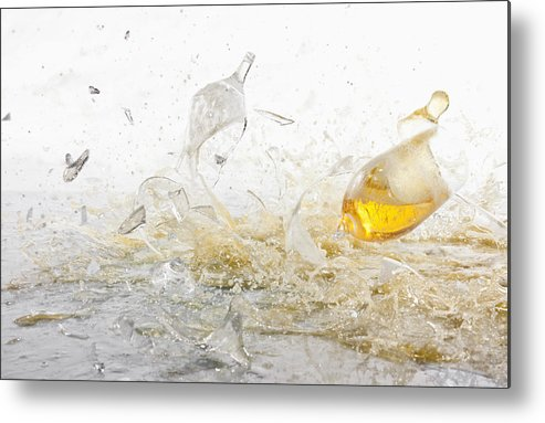 Horizontal Metal Print featuring the photograph Glasses Of Beer Shattering by Dual Dual