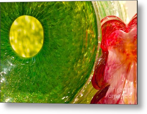 Art Glass Metal Print featuring the photograph Green And Red by Artist and Photographer Laura Wrede