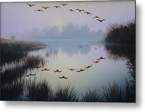 Oil On Canvas Metal Print featuring the painting South Lake At Dawn by Oleg Bylgakov