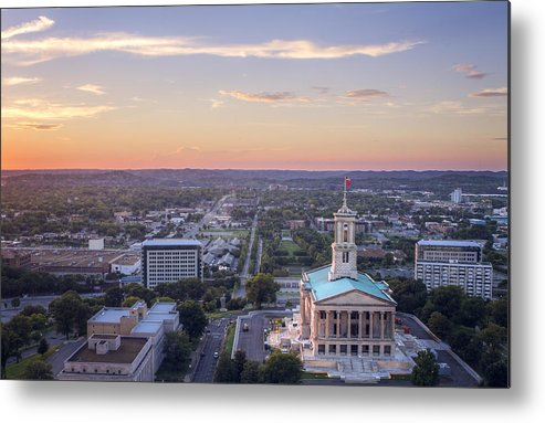 Horizontal Metal Print featuring the photograph The Tennessee State Capitol by Malcolm MacGregor