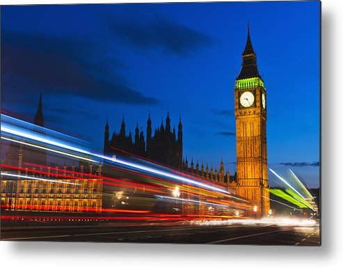 Horizontal Metal Print featuring the photograph Uk, England, London, Big Ben And Light Trails At Night by Tetra Images