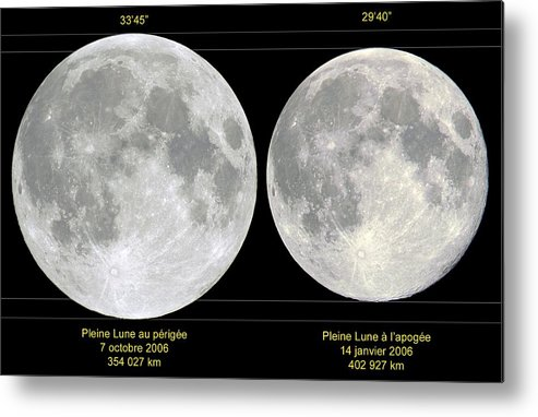 Moon Metal Print featuring the photograph Variation In Apparent Lunar Diameter by Laurent Laveder