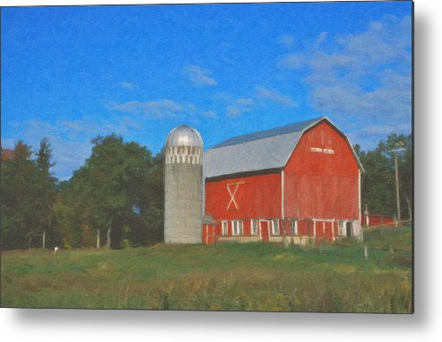 Red Barn Landscape Wisconsin Metal Print featuring the painting West Salem by Roger Bee