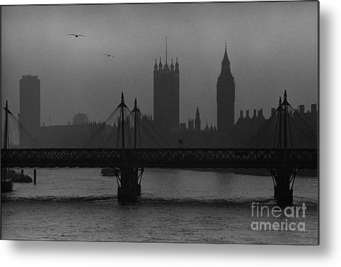 Foggy London Metal Print featuring the painting Westminster On A Foggy Day by Aldo Cervato