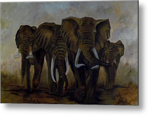 Elephant Metal Print featuring the painting Elephant Herd Hurrying For A Drink by Amos Ochieno